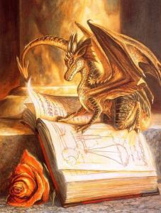 dragon and book